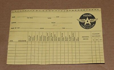 Vintage Veedol Safety Check Lubrication Customer Record Card Free Shipping