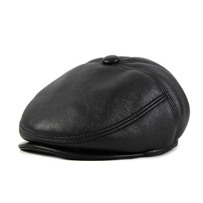 PU Leather Hat Mens Winter Warm Thick Peaked Cap Casual Beret Earflaps New