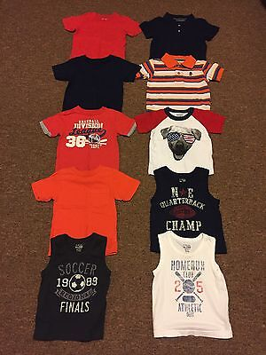 "Lot Of ""10"" Baby Boys Short Sleeve Shirts US Size 12-18 Months"