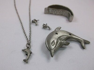 Torino Dolphin Jewelry Box Broach Necklace and Matching Earrings Trinket Box