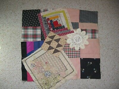 ~ Mixed Lot of 10 ~ Orphan Quilt Blocks ~ Embroidery ~ Log Cabin ~ Crochet ~