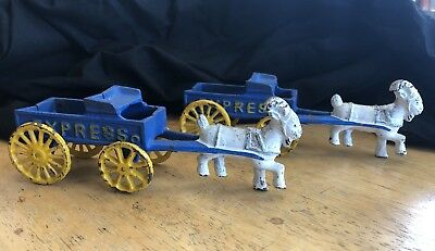 Vintage Cast Iron Goat & Carriage Buggie Wagon SET OF TWO    140