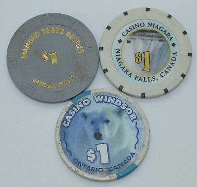 Set of 3 Mix Canada $1 Casino Chips Widsor-Diamond Tooth Gerties-Fallsview