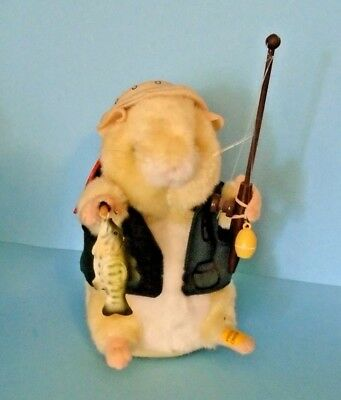 Gemmy Dancing Hamster Fisherman Billy Bass Wearing Hat & Vest With Pole & Fish
