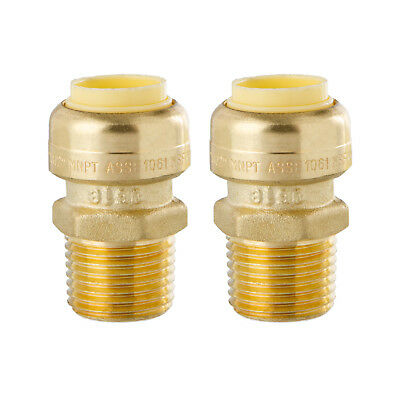 Little Well brass 1/2'' Push-Fit X Male Pipe Thread Coupling, 2 Pack