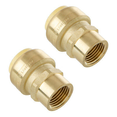 Little Well brass 3/4'' Push-Fit X 1/2'' NPT Female Pipe Thread Coupling, 2 Pack