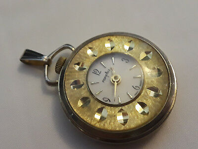 Old Vtg TopsAll Ladies Pocket Watch Beautiful Gold Tone Ornate