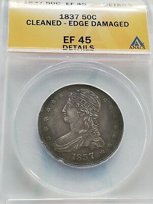 1837 Capped Bust Silver Half Dollar 50c coin