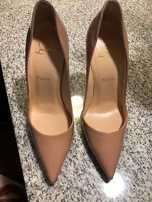 15926c080dac slightly used- Christian Louboutin 37.5 120 MM Patent Leather Nude So Kate  W Box