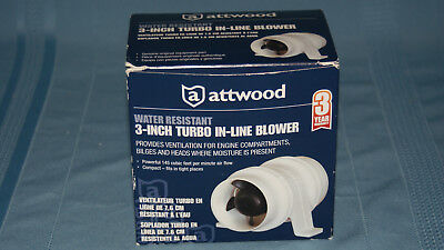 New White, 3-Inch Attwood Blower H20 Resist
