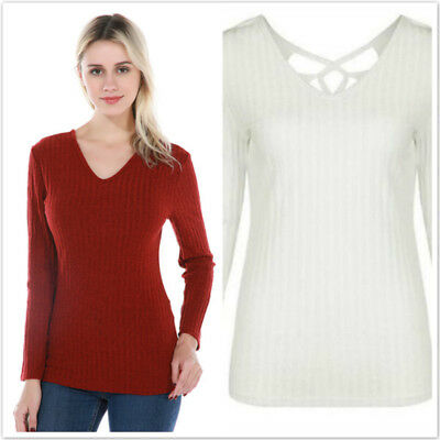 Women Knitted Sweaters Autumn V-Neck Back Hollow Out Slim Fit Tops Pullovers LG