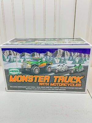 2007 Hess Toy Monster Truck with Motorcycles New in Box Collectible Working