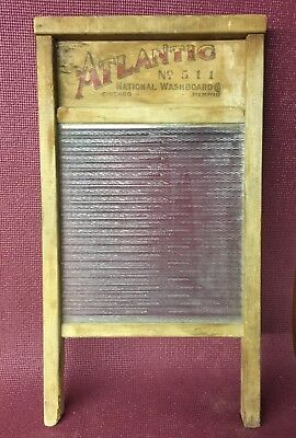VTG Wood Ribbed Glass Washboard Atlantic No.511 By National Washboard Co. USA
