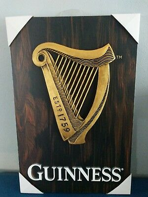 (L@@K) Guinness Beer With Harp 3-D Sign Game Room Man Cave NEW