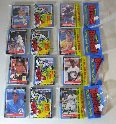 (4) Unopened 1988 Donruss Rack Packs, each has 45 Baseball cards and 3 puzzle