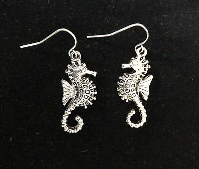 Marine Life Sea Shore Beach Silver Fish Ocean Seahorse Dangle Earrings Pierced