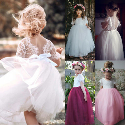 AU Toddler Kids Baby Girls Princess Party Pageant Lace Tulle Formal Tutu Dress