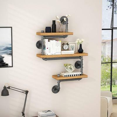 Modern Rustic Wood 3-Shelf Industrial Iron Pipe Design Bookshelf DIY Shelving