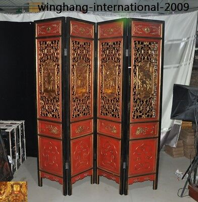 Rare China lacquerware Old Wood Painted Hollow carved ancient people boy screen