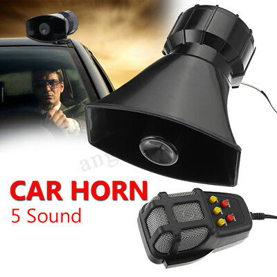 100W 12V Car Warning Alarm 5 Sound Mode Police Fire Siren Horn PA Speaker