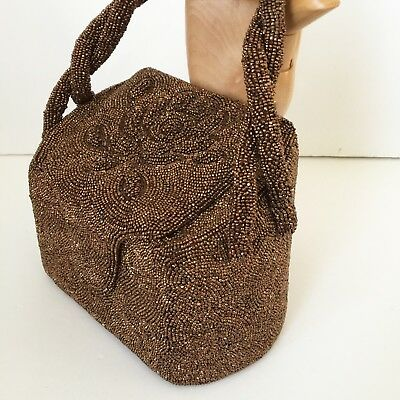 VTG 40s K & G Charlet French Copper Glass Beaded Box Bag