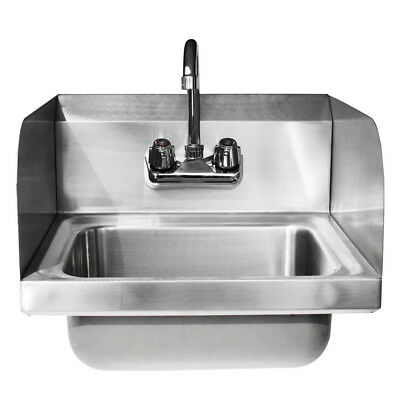 Commercial Kitchen Stainless Steel Wall Mount Hand Sink W/ Faucet Drain Strainer