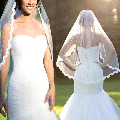 Fashion White/ivory Wedding Bridal Lace Edge Veil Wedding Accessories 100*150cm