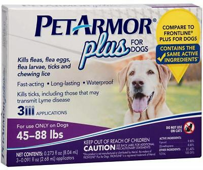 PETARMOR 3 Count Plus for Dogs 45 - 88 lbs Flea and Tick Squeeze-On