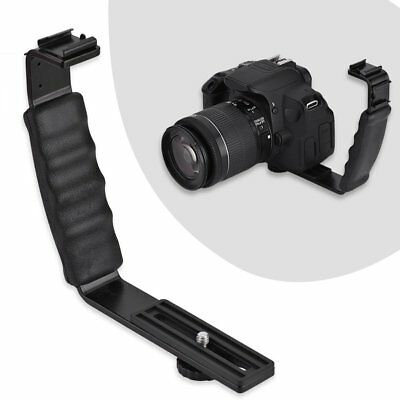 Black L-shaped Bracket Aluminium Alloy Video Hot Shoe Mount For Flash Camera New