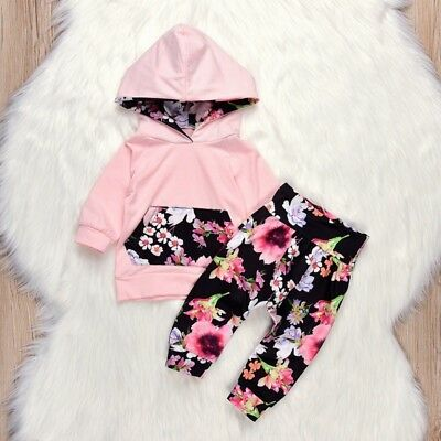 Winter Baby Mädchen Floral Hooded Tops + Pants Outfits Kleidung Set
