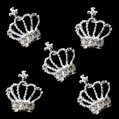 10pcs Women 3D Chic Rhinestone Crown Nail Art Tips Glitter Beads DIY Nail Decor