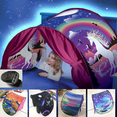 Niños Carpas plegable unicornio Pop up interior cama + luz de lectura H016HC