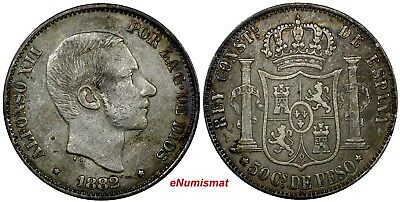 Philippines Alfonso XII Silver 1882 50 Centimos Toned KM# 150