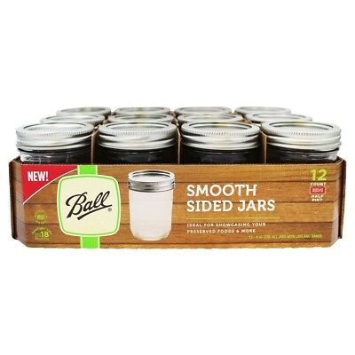 Ball - Smooth Sided Wide Mouth Half Pint Mason Jars 8 oz. - 12 Count