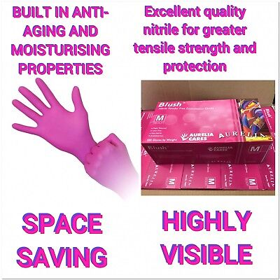 1000 Blush NITRILE Examination GLOVES PINK salon MEDIUM Aurelia FREE P&P NAILS