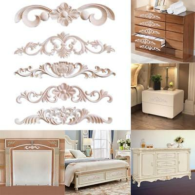 Unpainted Wooden Carved Applique Furniture Mouldings Decal Home DIY Decoration