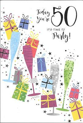 50th BIRTHDAY CARD - AGE 50 - TODAY YOU'RE 50 - PRESENTS, GLASSES, CELEBRATION