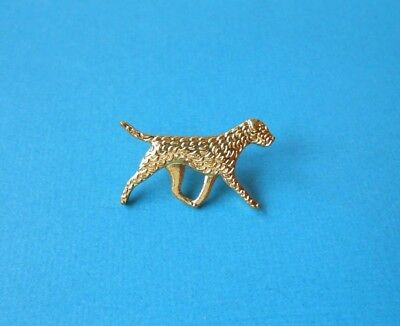Border Terrier Dog Brooch Metal Badge Gold Tone Puppy Pin Detailed