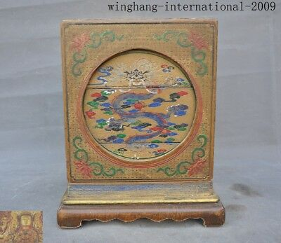 Old China dynasty lacquerware Wood animal Dragon Food utensil Storage Box boxes