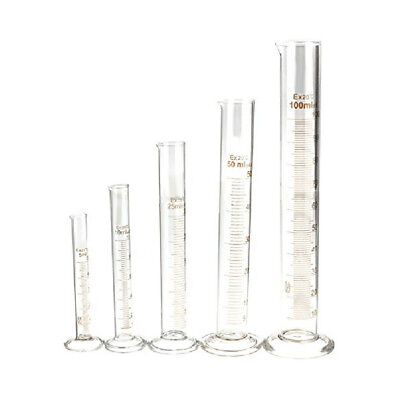 10X(5/10/25/50/100ml Thick Glass Graduated Measuring Cylinder Set ,Glass Mea Y2)