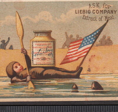 Captain Paul Boyton 1870's Aquatic Suit Frogman Liebig S 0042 Advertising Card