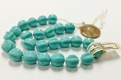 24 PIECES VINTAGE WESTERN GERMANY TURQUOISE GLASS 9mm. ROUND MELON BEADS E192