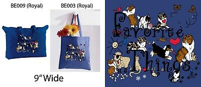Cotton Zip Top Sheltie Tote FAVORITE THINGS by Diane Troese in ROYAL or FOREST