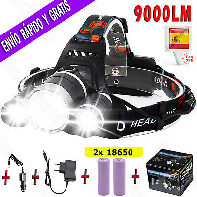 Linterna LED Frontal Recargable de Cabeza T6 9000LM 3x Headlamp 18650 + Cargador
