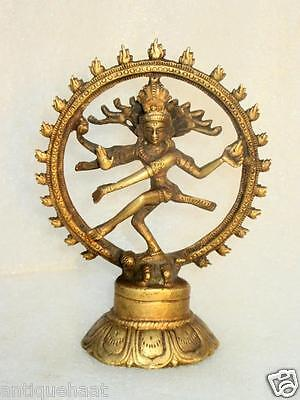 Old Rare Vintage Brass Hand Carved Hindu God Shiva Natraj Dancing Figure Statue