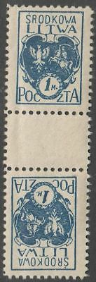 Middle (Central) Lithuania 1920 Mi 2AK Tete beche