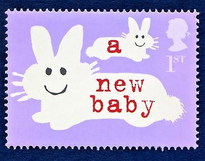 GB A new baby bunny rabbit greetings message illustrated on 2002 Stamp - U/M