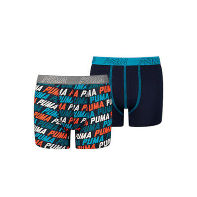 Puma 2-Pack Basic Repeat Logo Print Blue/Orange-140