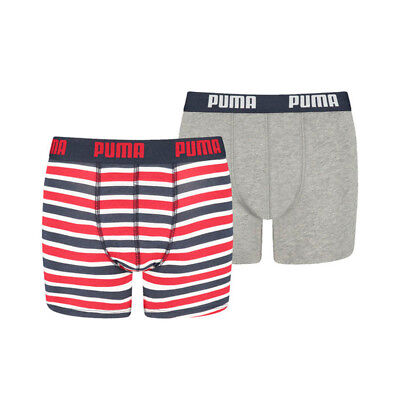 Puma Basic Boxer 2-Pack Printed Stripe Boys Ribbon Red -128