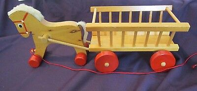 Vintage wooden horse/ pony and cart hand made stamped 1980 Christmas toy